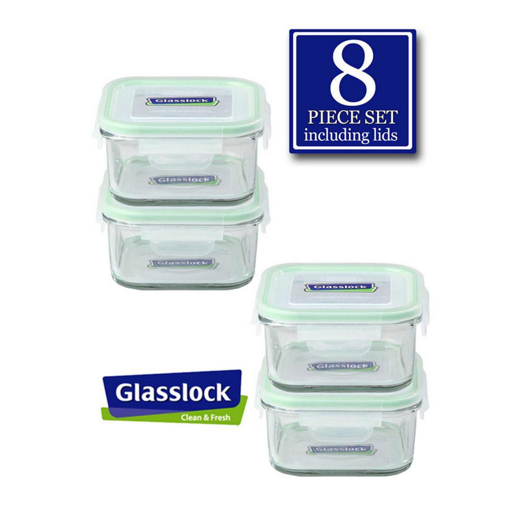 Glasslock Square 17-Oz Glass Food Storage Containers, 8-Pcs Set