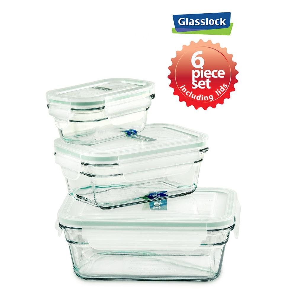 Glasslock Assorted Rectangle Glass Food Storage Containers, 6-Pcs Set