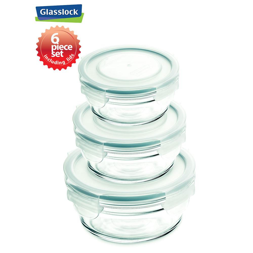 Glasslock Round Food Storage Containers with Snaplock Lids, 6-Pcs Set