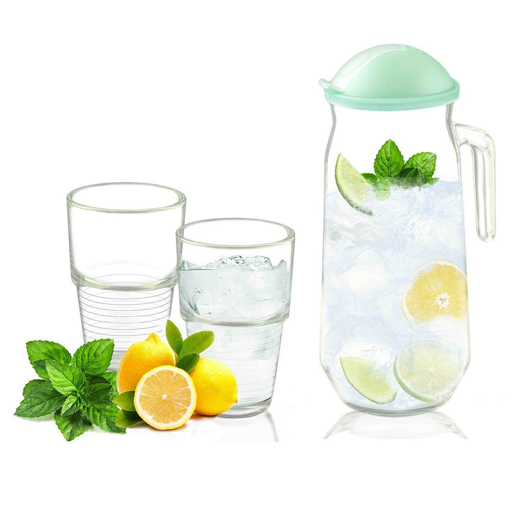[Glasslock] (1) Round Glass Pitcher & (2) Water Glass 3-Pcs Drinkware Set