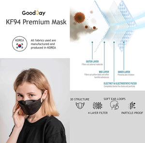 [Adult] Good Day Korean Premium KF94 Black Mask 10 pcs - Everydayspecial.com