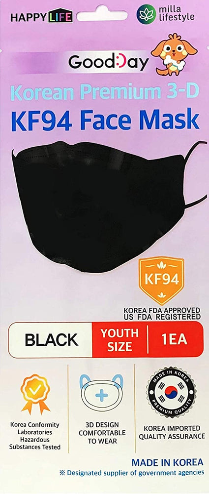 [Youth] Good Day Korean Premium KF94 Black Mask 10 pcs - Everydayspecial.com