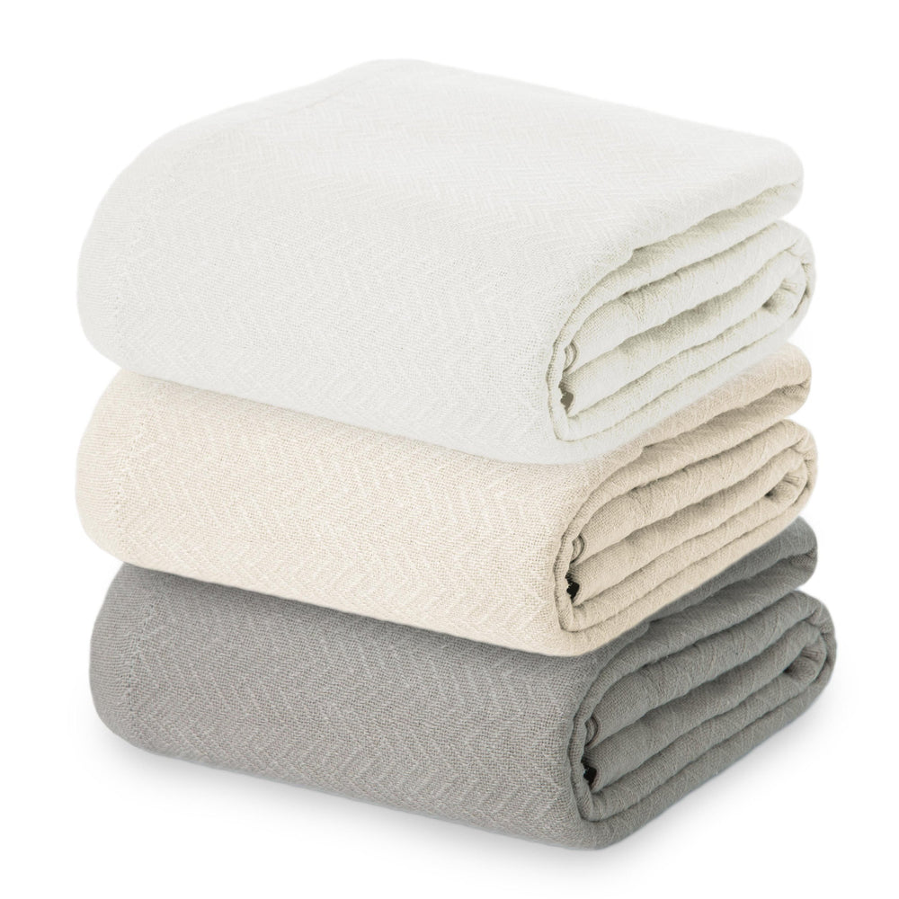 Thermal Heringbone 100% Cotton Blanket (TWIN / QUEEN / KING)