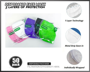 50 PCs Assorted (5 Color) KN95 5 Layers Face Mask BFE 95% Disposable Respirator