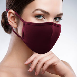 2-Layer Reusable 3D Cotton Face Mask with Filter Pocket (Wine) - EverydaySpecial