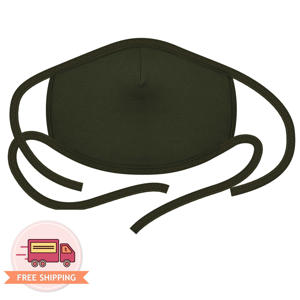 3PCS 2-Layer Reusable 3D Cotton Face Mask with Filter Pocket (Army Khaki)