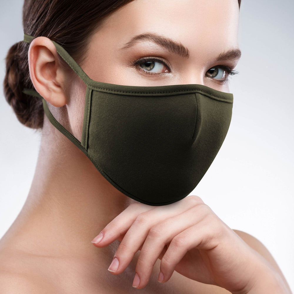 2-Layer Reusable 3D Cotton Face Mask with Filter Pocket (Army Khaki) - EverydaySpecial
