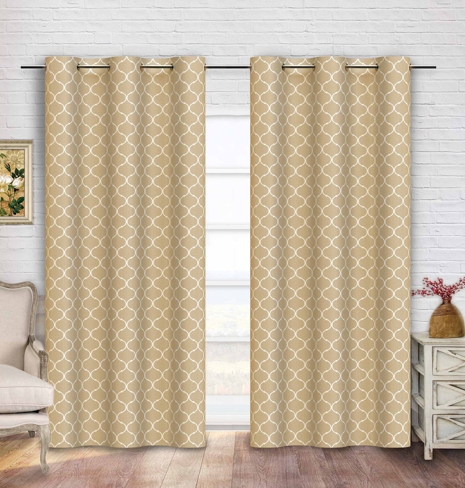 99.9% Blackout Curtain | Contemporary Moroccan Trellis Linen Color