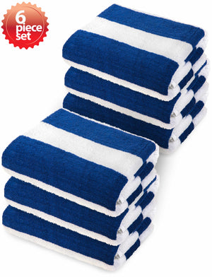 "Classic Cabana Stripe Oversize 100% Cotton Beach Towel (30""x 68"") - EverydaySpecial"