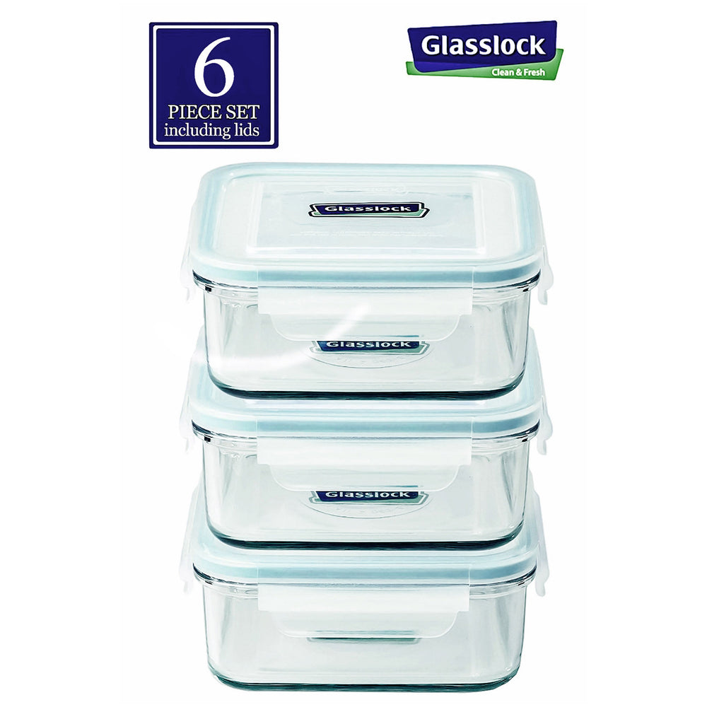 Glasslock Square 30-Oz Glass Food Storage Containers, 6-Pcs Set