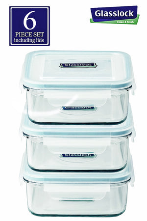 Glasslock Square 30-Oz Glass Food Storage Containers, 6-Pcs Set - EverydaySpecial