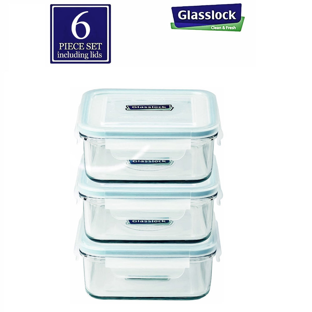 Glasslock Square 17-Oz Glass Food Storage Containers, 6-Pcs Set