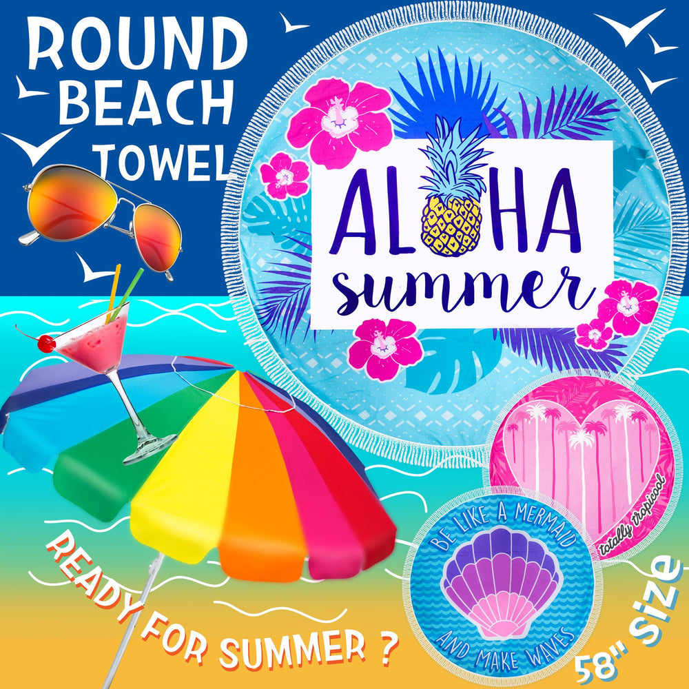"Round Beach Towel /Yoga Mat / Table Cloth/ Beach Blanket, 58"" (Assorted Designs)"