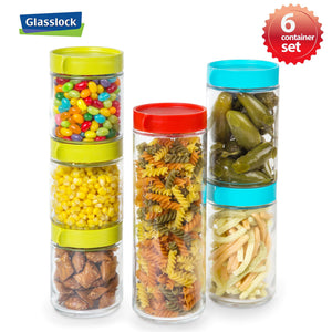 Glasslock Screw Top Block Round Canisters with Color Lids, 12-Pcs Set - EverydaySpecial