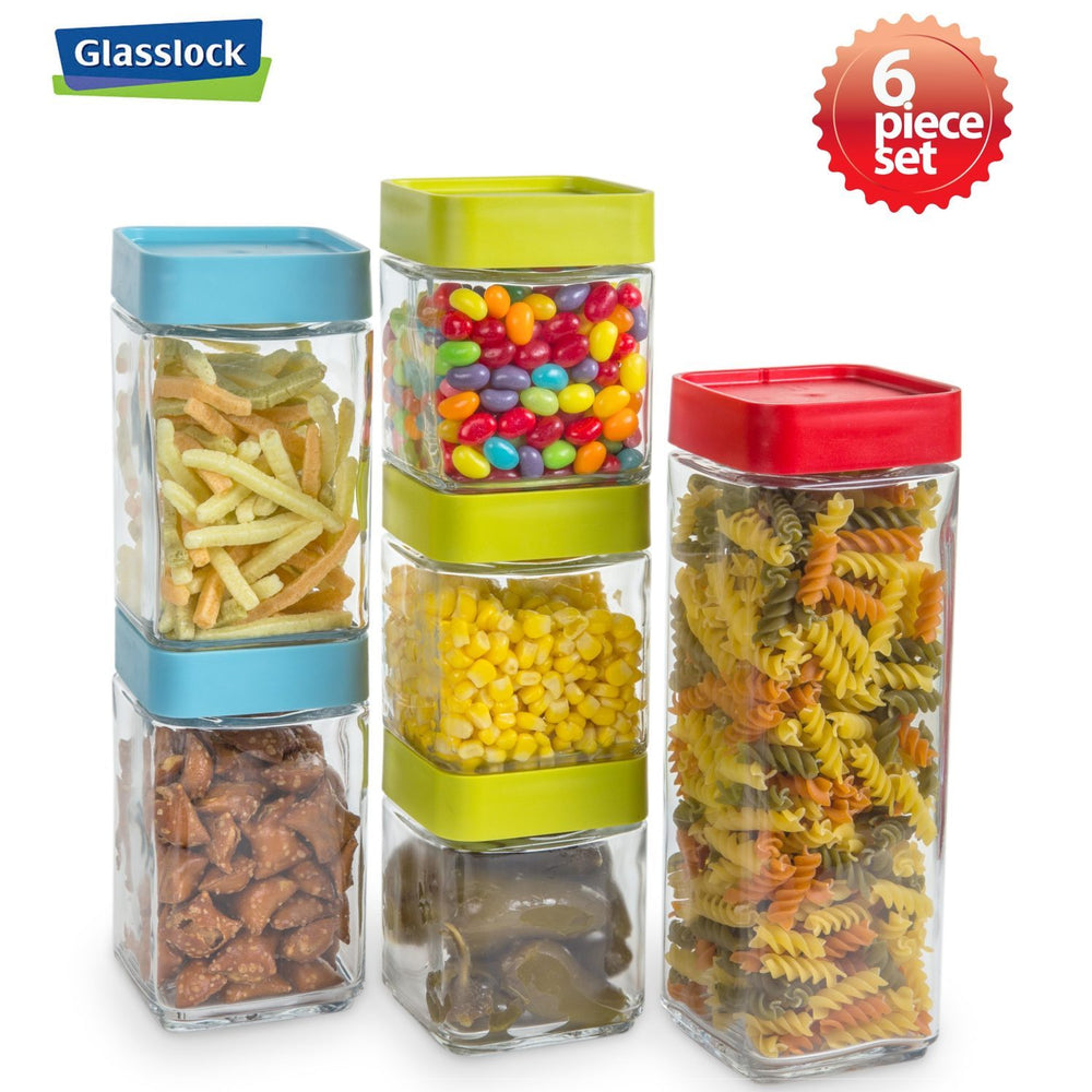 Load image into Gallery viewer, Glasslock Screw Top Block Square Canisters Food Containers, 12-Pcs Set - EverydaySpecial