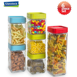 Glasslock Screw Top Block Square Canisters Food Containers, 12-Pcs Set - EverydaySpecial
