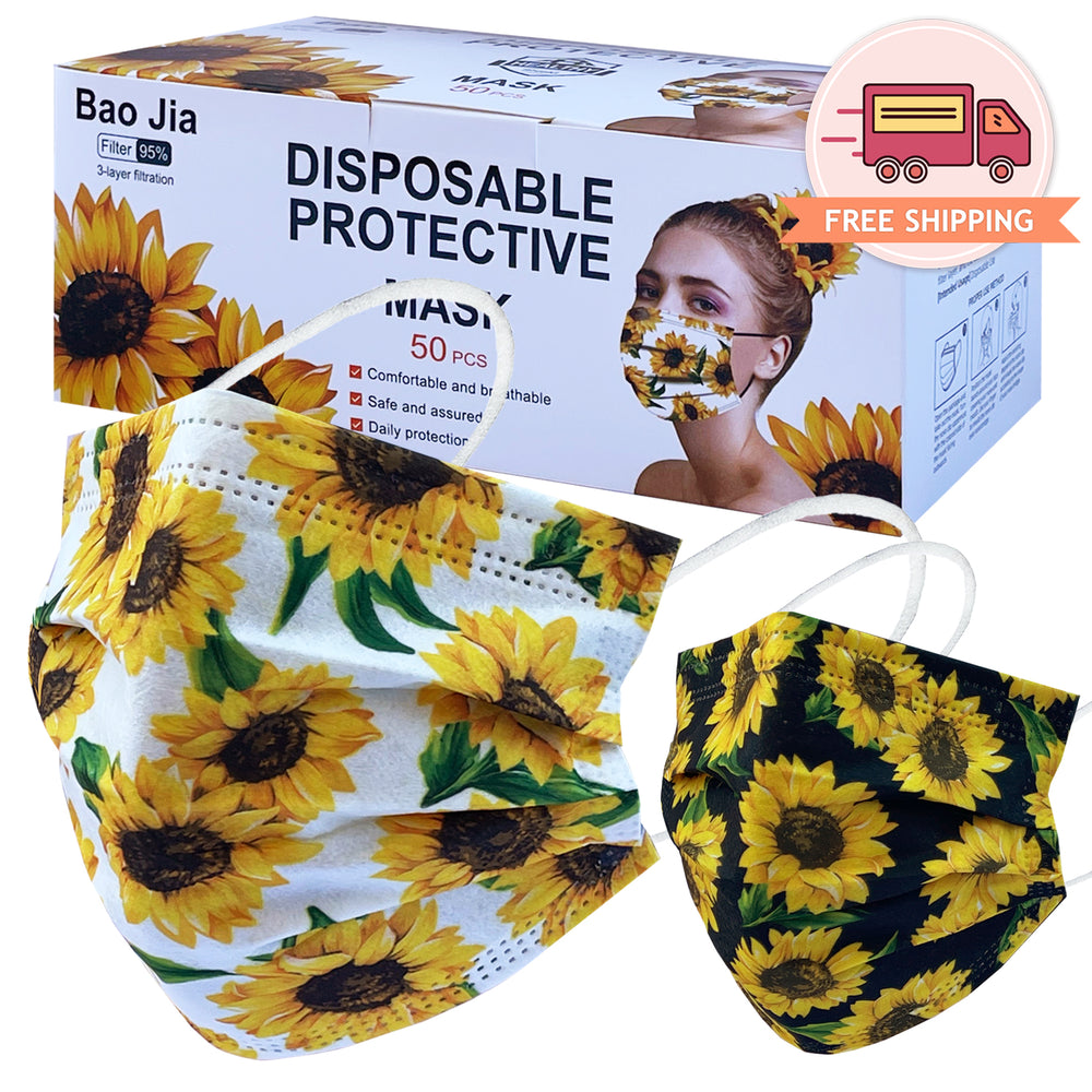 Disposable Safety Mask 3 Layer Protection Face Mask for Adults 50 pcs (Sunflower Print)