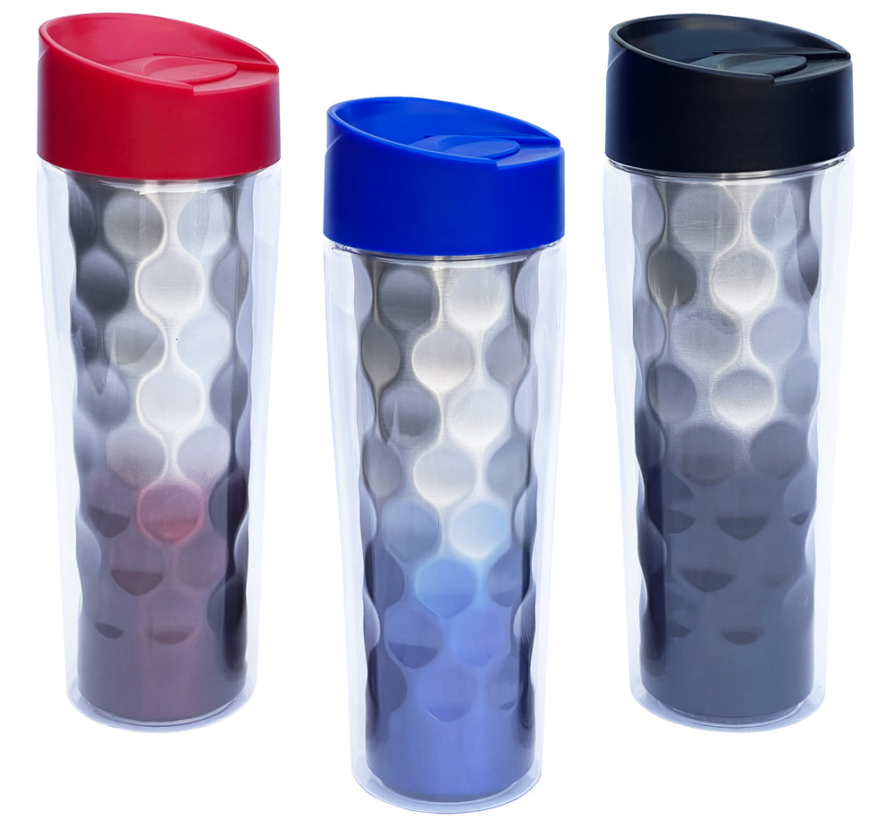 Travel Mug Honeycomb Double Wall Insulated Tritan Tumbler 16 oz Red / Blue / Back Assorted Color - 3 pack