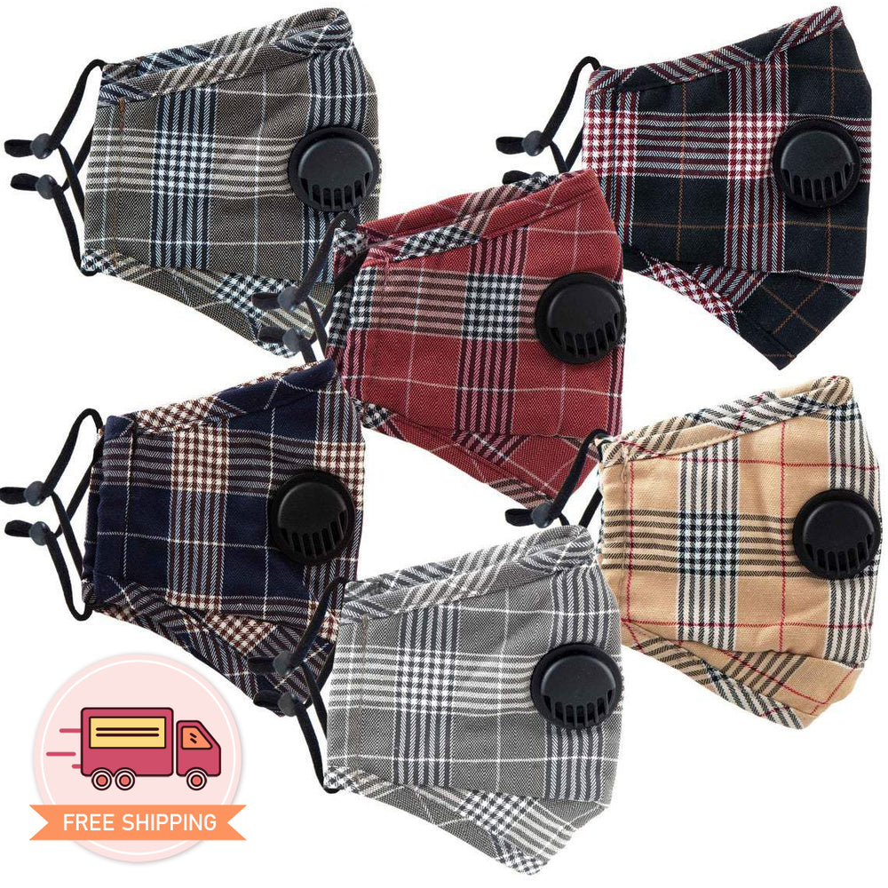 Load image into Gallery viewer, Reusable 6 Colors Plaid Checkered Cotton 3D Face Mask 3 pcs  - EverydaySpecial