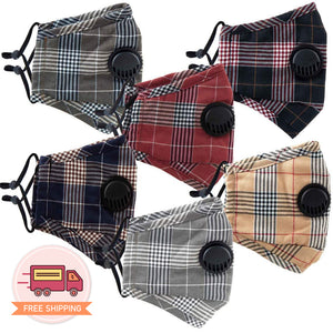 Reusable 6 Colors Plaid Checkered Cotton 3D Face Mask 3 pcs  - EverydaySpecial
