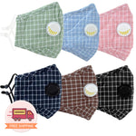 Reusable 6 Colors Checkered Two Layers Cotton 3D Mask 3 pcs