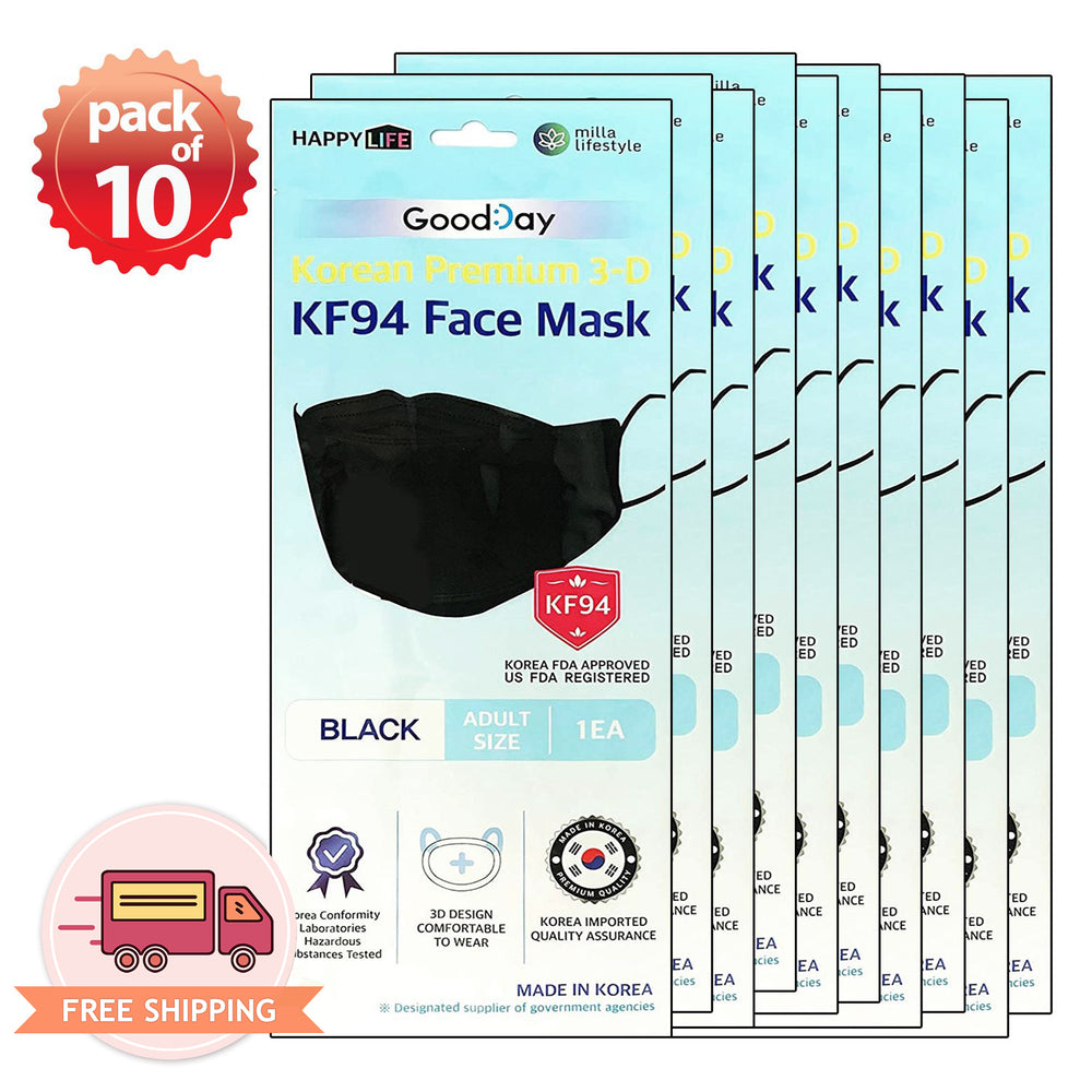 [Adult] Good Day Korean Premium KF94 Black Mask 10 pcs