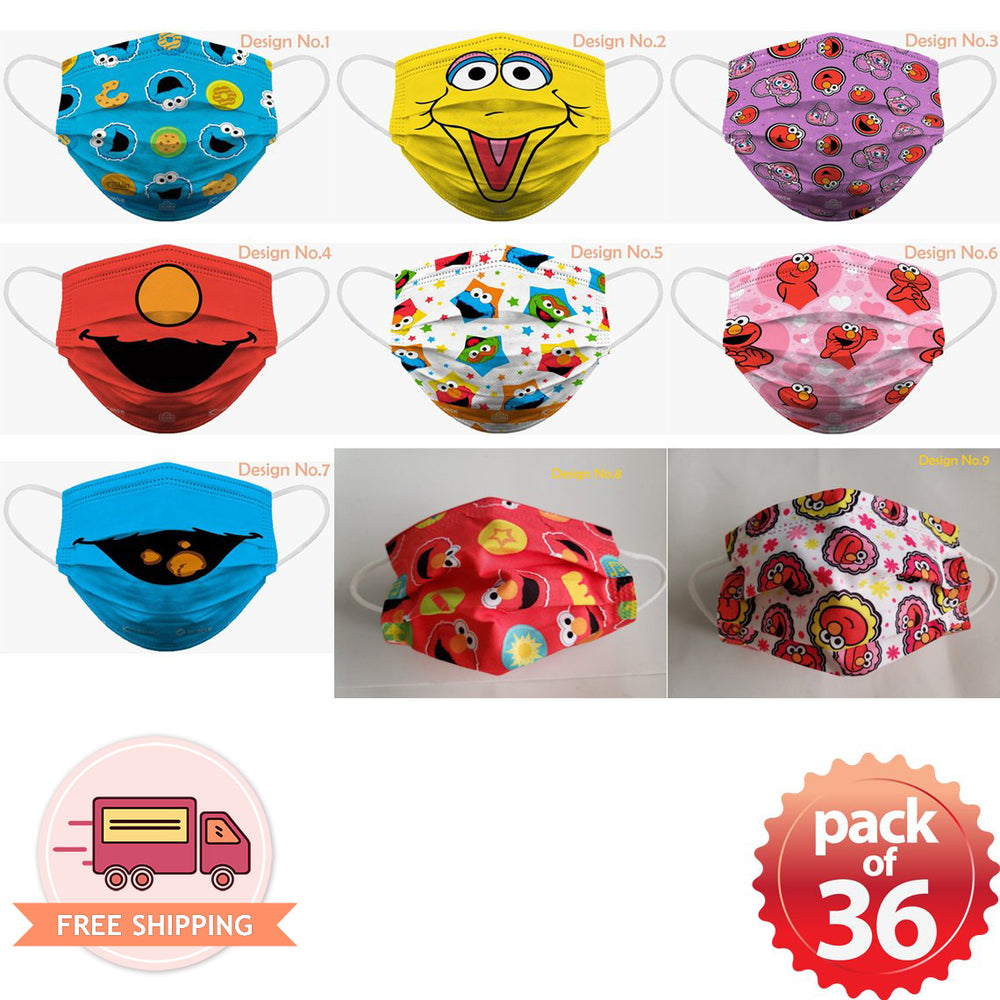 [Kids] Sesame Street Elmo Soft Reusable Pleated Fabric 2-Layers Face Mask (9 different design) 36 pcs