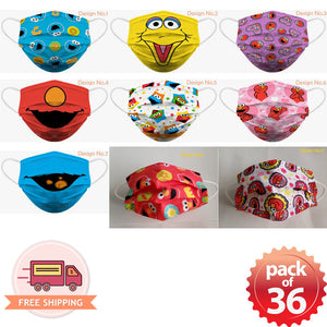 Sesame Street Elmo Soft Reusable Pleated Fabric 2-Layers Kids Face Mask (9 different design) 36 pcs - EverydaySpecial