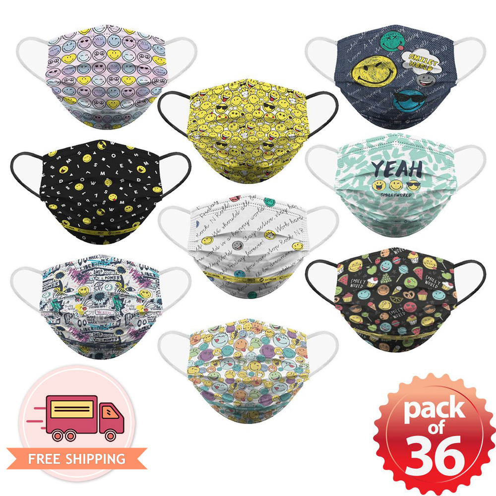[Kids] Smiley Face Soft Reusable Pleated Fabric 2-Layers Face Mask (9 different design) 36 pcs