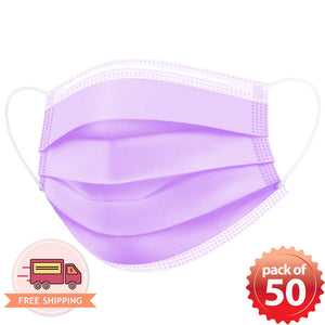 Disposable Mask 3 layer Protection Adult Face Mask 50 pcs (Purple) -Everydayspecial.com