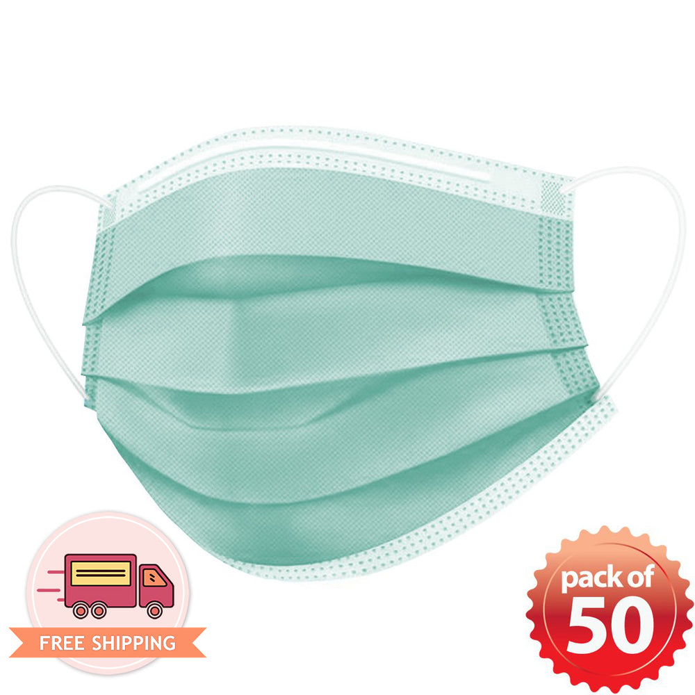 Disposable Mask 3 layer Protection Adult Face Mask 50 pcs (Green)