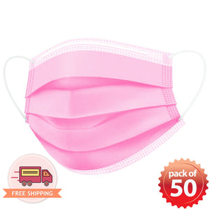 Disposable Mask 3 layer Protection Adult Face Mask 50 pcs (Pink) - Everdayspecial.com