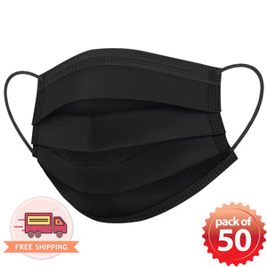 Disposable Mask 3 layer Protection Adult Face Mask 50 pcs (Black) - Everdayspecial.com