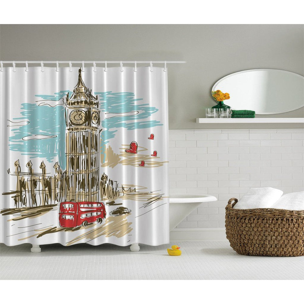 Designer's Collection Digital Graphic Print Shower Curtain Set