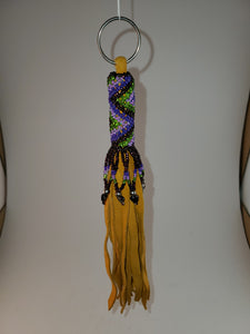 Leather Fringe Beaded Keychain