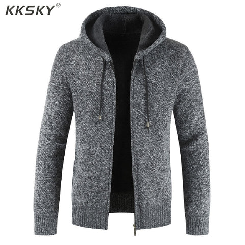 Thick Cardigan Sweater Men Long Sleeve Knitted Sweater High Quality Winter Hooded Zipper Homme Warm Mens Cardigans Coat 3xl New