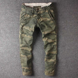 Retro Camouflage Cargo Pants Men Military Tactical Pants Skinny Fits Army Style Cotton Trousers Casual Pants Man Clothing