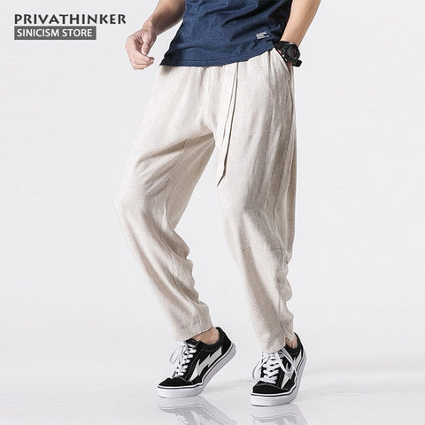 MrGoldenBowl Store Size Plus 5XL Cotton Linen Harem Pants Men Belt Jogger Pants Male Trousers Chinese Traditional Cloths
