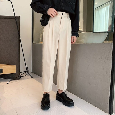 Summer Thin Straight Casual Pants Men's Fashion Solid Color Business Dress Pants Men Streetwear Loose Korean Suit Pants Mens