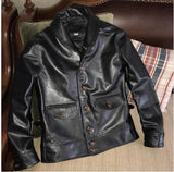 Free shipping.Brand classis Cossack horsehide coat,man genuine leather Jacket,quality men's slim japan style leather clothes