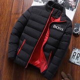 YES BOSS Print Winter Jacket Men Thick Warm Jacket Slim Casual Hooded Male Parka Jacket Men Cotton Thick Parka Jacket