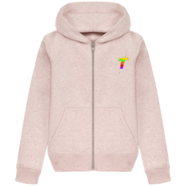 Sweat Zippé à Capuche Enfant RUNNER BIO - Cream Heather Pink