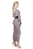 Taupe bodycon longsleeve midi dress with a scoop back detail and ruffle sleeve. Custom length.