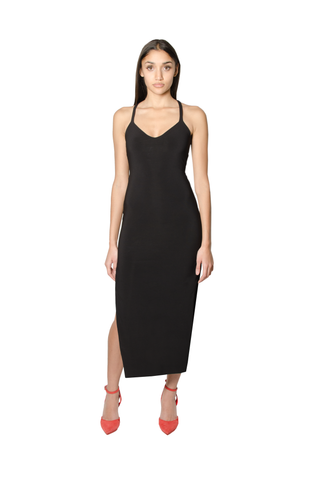 BLACK SINGLE CROSSBACK DRESS