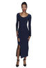 Black / navy reversible bodycon midi dress with scoop back, long sleeves, side slit and cutout