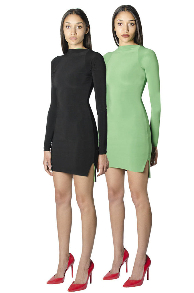 Black / green reversible long sleeve bodycon mini dress with slits