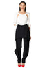 Black dress pants with ruffle overlay