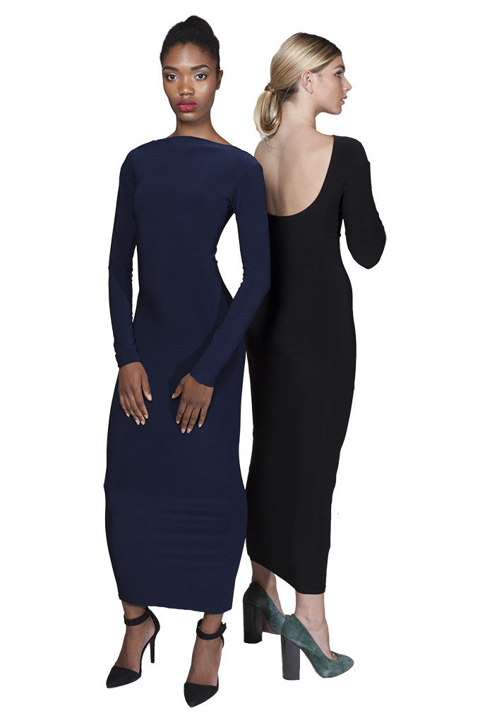 Navy / black bodycon reversible midi dress with scoop back and long sleeves