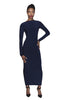 Navy / black bodycon reversible midi dress with scoop back and long sleevesNavy / black long bodycon reversible dress with scoop back and long sleeves