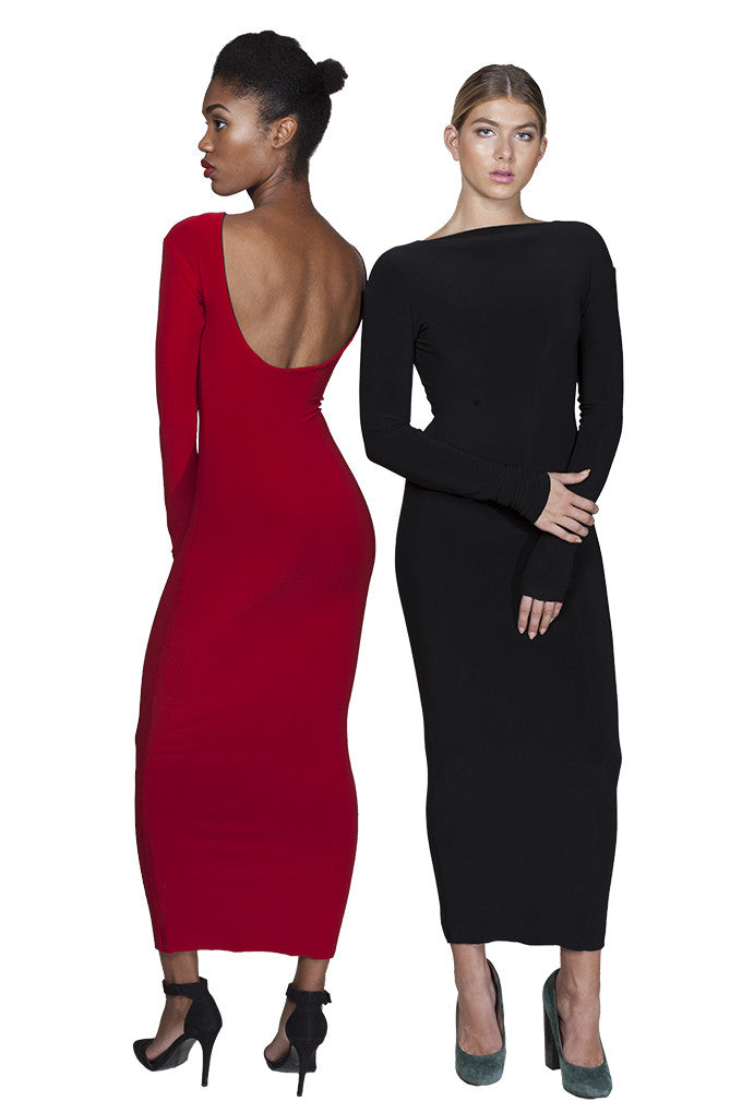 Red / black reversible bodycon midi dress with scoop back and long sleeves